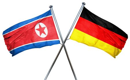 combined: North Korea flag combined with germany flag Stock Photo