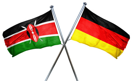isolation backdrop: Kenya flag combined with germany flag Stock Photo