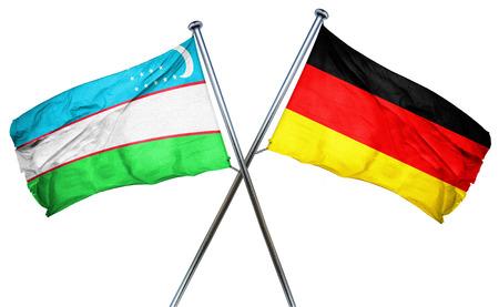 isolation backdrop: Uzbekistan flag combined with germany flag Stock Photo