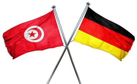 isolation backdrop: Tunesia flag combined with germany flag Stock Photo