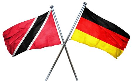 isolation backdrop: Trinidad and tobago flag combined with germany flag Stock Photo