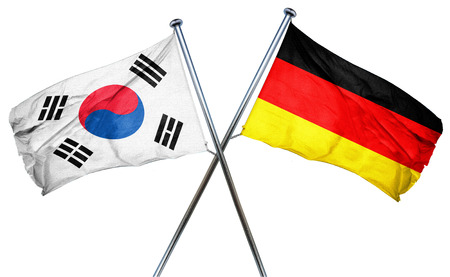 isolation backdrop: South korea flag combined with germany flag