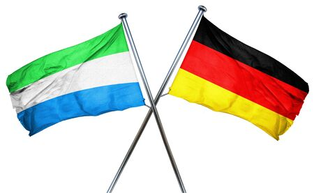 isolation backdrop: Sierra Leone flag combined with germany flag Stock Photo