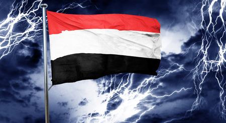 storm cloud: Yemen flag, 3D rendering, crisis concept storm cloud