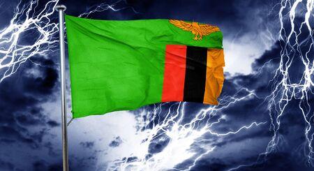 zambia flag: Zambia flag, 3D rendering, crisis concept storm cloud
