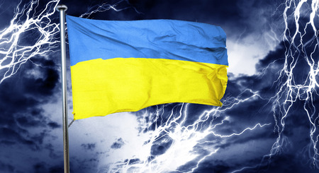 stock market crash: Ukraine flag, 3D rendering, crisis concept storm cloud Stock Photo