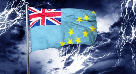 storm cloud: Tuvalu flag, 3D rendering, crisis concept storm cloud Stock Photo