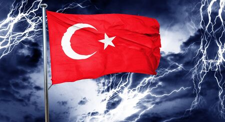 gloom: Turkey flag, 3D rendering, crisis concept storm cloud Stock Photo