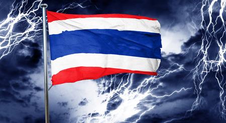 storm cloud: Thailand flag, 3D rendering, crisis concept storm cloud