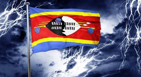 storm cloud: Swaziland flag, 3D rendering, crisis concept storm cloud