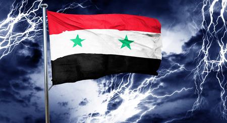 storm cloud: Syria flag, 3D rendering, crisis concept storm cloud Stock Photo