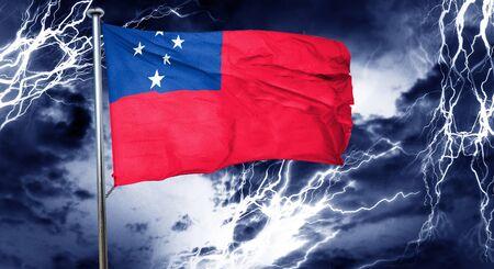 samoa: Samoa flag, 3D rendering, crisis concept storm cloud Stock Photo