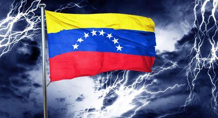 venezuela flag: Venezuela flag, 3D rendering, crisis concept storm cloud Stock Photo