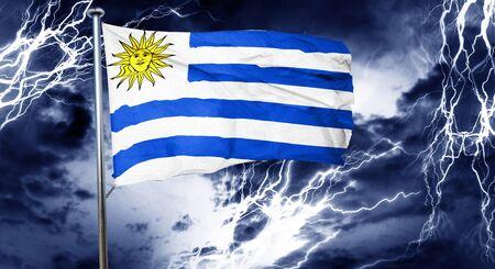 bandera uruguay: bandera de Uruguay, 3D, concepto de crisis nube de tormenta