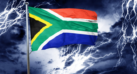 south africa flag: South africa flag, 3D rendering, crisis concept storm cloud