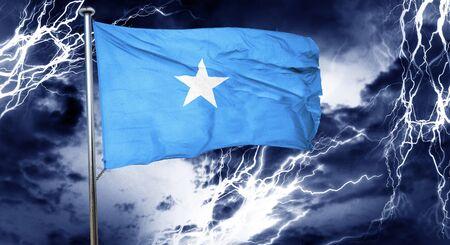 doom: Somalia flag, 3D rendering, crisis concept storm cloud