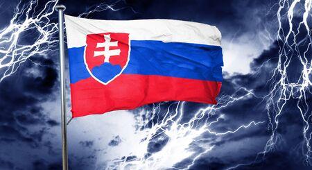 slovakia flag: Slovakia flag, 3D rendering, crisis concept storm cloud Stock Photo