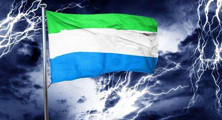 sierra: Sierra Leone flag, 3D rendering, crisis concept storm cloud