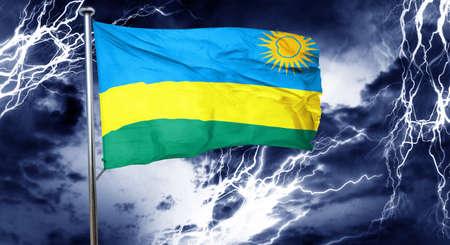 storm cloud: Rwanda flag, 3D rendering, crisis concept storm cloud