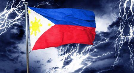 storm cloud: Philippines flag, 3D rendering, crisis concept storm cloud