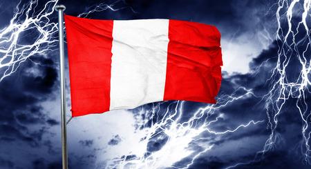 doom: Peru flag, 3D rendering, crisis concept storm cloud