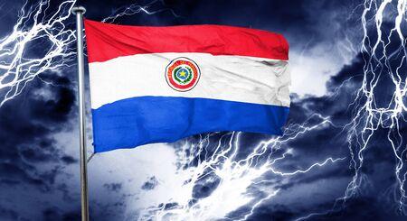bandera de paraguay: bandera de Paraguay, 3D, concepto de crisis nube de tormenta