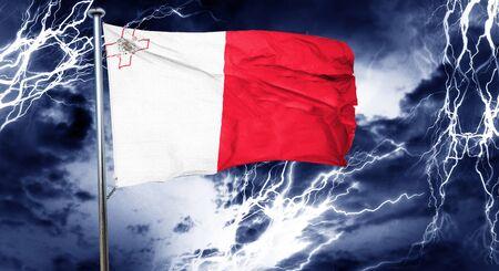 doom: Malta flag, 3D rendering, crisis concept storm cloud