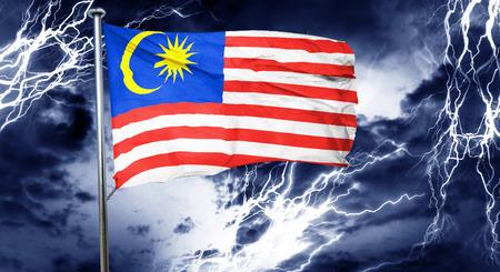 stock market crash: Malaysia flag, 3D rendering, crisis concept storm cloud