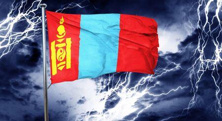 storm cloud: Mongolia flag, 3D rendering, crisis concept storm cloud
