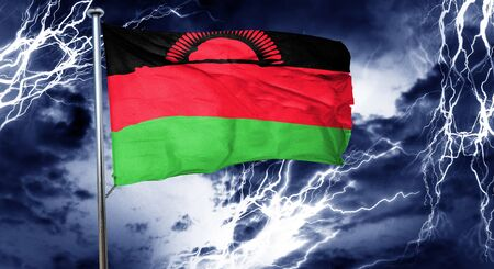 malawi: Malawi flag, 3D rendering, crisis concept storm cloud