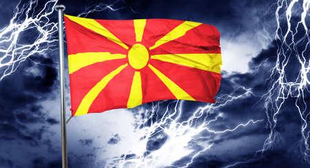 doom: Macedonia flag, 3D rendering, crisis concept storm cloud