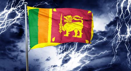 doom: Sri lanka flag, 3D rendering, crisis concept storm cloud