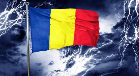 romania flag: Romania flag, 3D rendering, crisis concept storm cloud