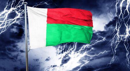 storm cloud: Madagascar flag, 3D rendering, crisis concept storm cloud