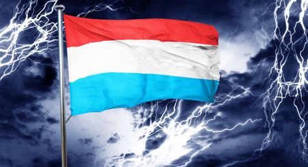 storm cloud: Luxembourg flag, 3D rendering, crisis concept storm cloud