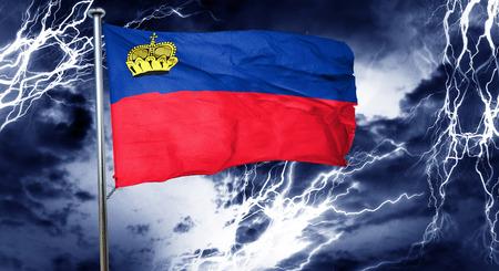 stock market crash: Liechtenstein flag, 3D rendering, crisis concept storm cloud Stock Photo