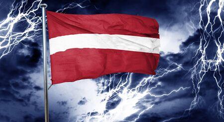 doom: Latvia flag, 3D rendering, crisis concept storm cloud Stock Photo