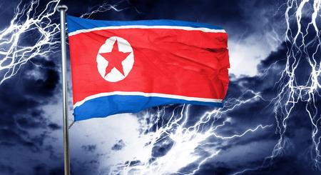 doom: North Korea flag, 3D rendering, crisis concept storm cloud Stock Photo