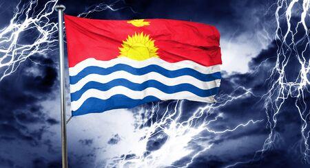 doom: Kiribati flag, 3D rendering, crisis concept storm cloud