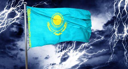 doom: Kazakhstan flag, 3D rendering, crisis concept storm cloud