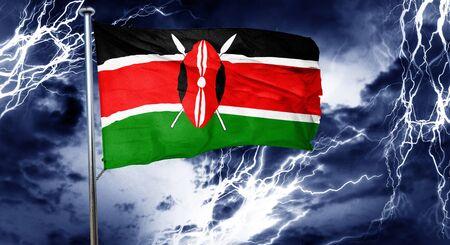 storm cloud: Kenya flag, 3D rendering, crisis concept storm cloud