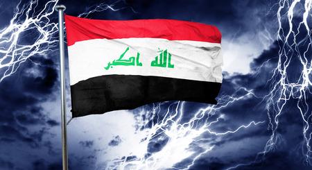 doom: Iraq flag, 3D rendering, crisis concept storm cloud
