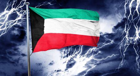 stock market crash: Kuwait flag, 3D rendering, crisis concept storm cloud