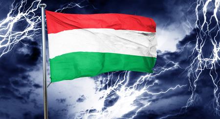 doom: Hungary flag, 3D rendering, crisis concept storm cloud Stock Photo
