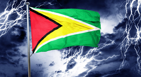 storm cloud: Guyana flag, 3D rendering, crisis concept storm cloud