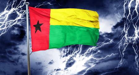 storm cloud: Guinea bissau flag, 3D rendering, crisis concept storm cloud Stock Photo