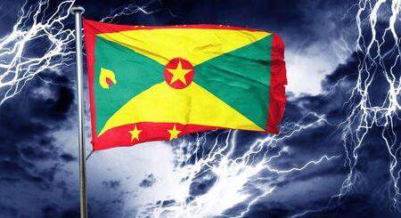 stock market crash: Grenada flag, 3D rendering, crisis concept storm cloud