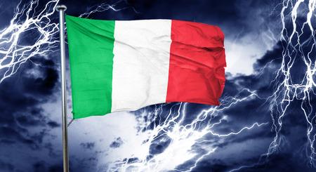 doom: Italy flag, 3D rendering, crisis concept storm cloud Stock Photo