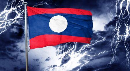 storm cloud: Laos flag, 3D rendering, crisis concept storm cloud Stock Photo