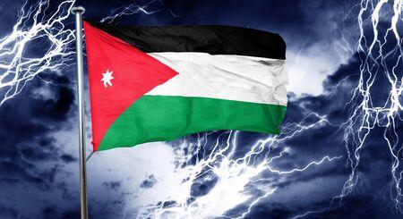 doom: Jordan flag, 3D rendering, crisis concept storm cloud